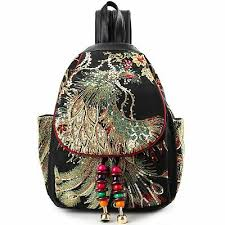 <b>Vintage</b> Phoenix <b>Sequins</b> Embroideried Women <b>Backpack</b> Daypack ...