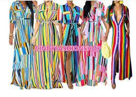Women Button UP <b>Stripes</b> Short Sleeve With <b>Sashes</b> Maxi ...