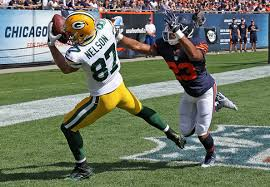 Jordy Nelson of the Green Bay Packers and Kyle Fuller of the Chicago Bears