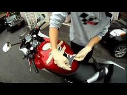 How to install a tank pad on a <b>motorcycle</b> - YouTube