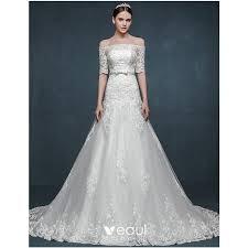 <b>2015 Romantic</b> Trailing Word <b>Shoulder</b> Slim Thin Bridal Dress