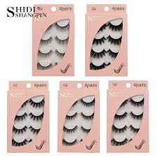 <b>SHIDISHANGPIN 4 Pairs Mink</b> Eyelashes 3D Mink Lashes Fake ...