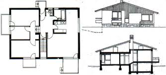 Modern House Design Plans  example of floor plan   there    Left  Ground floor plan Right  Section and elevation  Modern Beach House