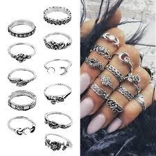 Y 11 Pcs/Set <b>Bohemian</b> Knuckle Ring Carved Diamond Moon ...