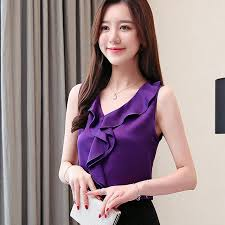 New Arrival <b>Tops Women Fashion Silk Blouse</b> Summer Sleeveless ...