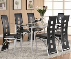 metal dining room chairs chrome: furniture black wooden rectangular dining table with folding