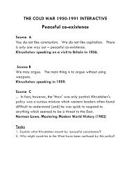 peaceful coexistence cold war essay  khrushchev s peaceful coexistence the soviet perspective guided peaceful coexistence cold war essay