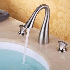 luxury bathroom widespread <b>sink faucet 3 hole</b> mixer tap single ...