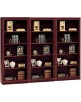 bush saratoga 5 shelf wall bookcase in harvest cherry red bush furniture bush saratoga computer desk