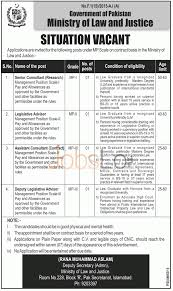 ministry of law justice jobs 05 2016 recruitment under mp employment in ministry of law justice 05 2016 for sr consultants legislative advisor