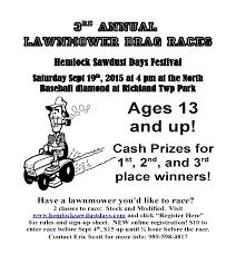 lawnmower drag race hemlock sawdust days lawnmower race flyer 15