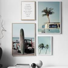 Sea Beach Surf Car <b>Coconut</b> Tree Quotes Wall Art Canvas Painting ...