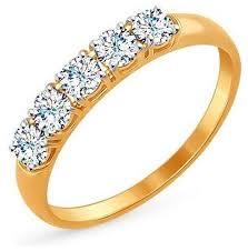 Купить ЛУКАС <b>Кольцо с 5 фианитами</b> из красного золота R01 ...