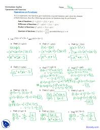 operations of functions intermediate algebra solved assignment this is only a preview