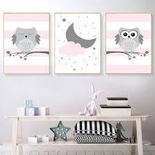 Minimalist <b>Cartoon Woodland Animal</b> Pink Owl Poster <b>Canvas</b> ...