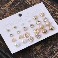 INF  <b>12 Pairs Crystal Punk</b> Geometric Peach Heart Piercing Stud ...