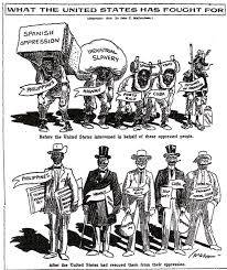 american empire the american yawp a propagandistic image this political cartoon shows a before and after the spanish colonies