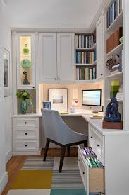painted maple corner office example of a mid sized classic study room design in new york small basement design ideas basement office design ideas