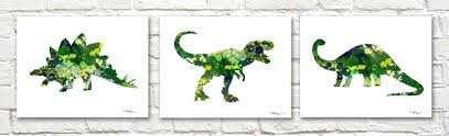 <b>Dinosaur</b> Art <b>Prints</b> Set of 3 Triptic Watercolor Paintings