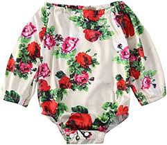 Baby Girls Off Shoulder Floral Butterfly Bodysuits ... - Amazon.com