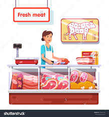 fresh meat stand supermarket s clerk stock vector  fresh meat stand in a supermarket s clerk w worker slicing meat modern flat