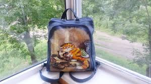 Backpack leather <b>double</b>-sided hand-painted for Kira – заказать на ...