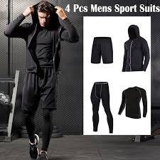 <b>New</b> 4 Pcs/set Compression <b>Mens Sport Suits</b> Quick Dry Running ...