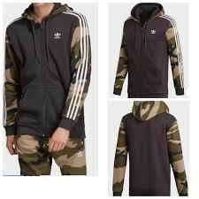 Adidas Originals Men <b>Camouflage</b> Full Zip Trefoil Sweatshirt Hoodie ...
