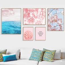 2019 Gohipang <b>Blue Sea</b> Leaves Flowers Canvas Painting <b>Posters</b> ...