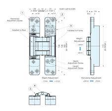 hes3d-160sl 3-way adjustable <b>concealed</b> door hinge (<b>silver</b>)