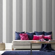 striped wallpaper grey living