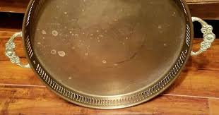 Details about <b>Vintage Brass</b> Gallery Barware Vanity Serving Tray ...