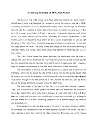 a literary analysis of the little princea literary analysis of the little prince the book of the little prince is a novel