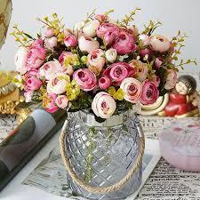 Silk Tea <b>Rose Small</b> Bouquet For Wedding Party Decoration <b>5</b> ...