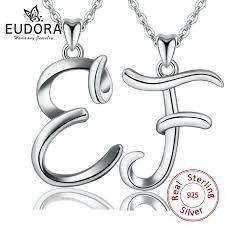 <b>EUDORA 100</b>% <b>925</b> Sterling Silver E & F Letter Name Pendant ...