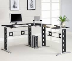 desks modern l shape desk with silver frame black glass black glass office desk 1