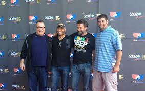 sportstravel on the road a great day for wrestling sportstravel tom arnold randy couture billy baldwin and stephen neal on the red carpet before