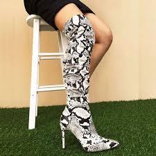 Online Shop <b>Perixir</b> Boots-<b>women</b> Snake Skin Strechy Over the ...