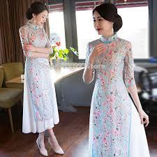 <b>2019 Asian</b> traditional <b>clothing</b> floral Vietnam style long <b>dress Ao dai</b> ...