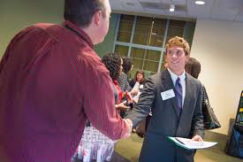 illinois wesleyan internship opportunities include unique a state farm representative greets business major kevin slawkowski 16 at this fall s internship fair