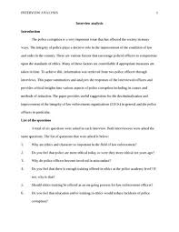 interview analysis other essay   studentshare interview analysis essay example