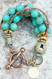 Turquoise, <b>Brass</b> and Gold Multi-Strand Bracelet | Neckles, braselet ...