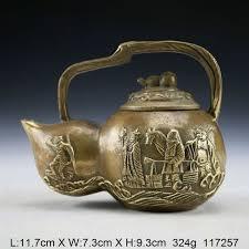 <b>Oriental Vintage Handwork</b> Copper Teapot <b>carved</b> Tang master trio ...