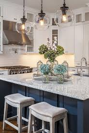 gorgeous kitchen with white cabinets glass globe pendants and navy island architecture kitchen decorations delightful pendant kitchen
