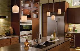 modern 5 white shade small pendant lamps over brown stained wooden kitchen island with double bowl astounding kitchen pendant