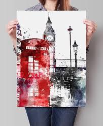 London <b>Big Ben art</b> London <b>art</b> print par FineArtCenter   Sulu boya ...