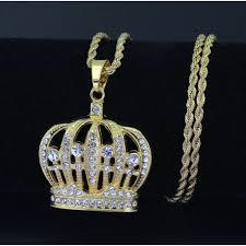 SEUSUK <b>Hip Hop King Crown</b> Pendants Necklace Iced Out ...