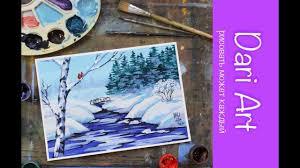 Рисуем <b>зимний пейзаж</b> с речкой гуашью! #Dari_Art - YouTube