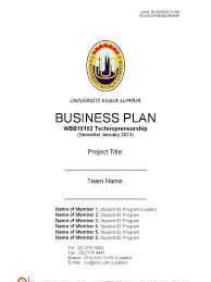 business plan unikl template jan