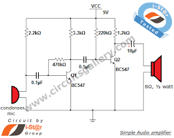 simple condenser microphone mini audio amplifier circuit schematic    audio amplifier circuit
